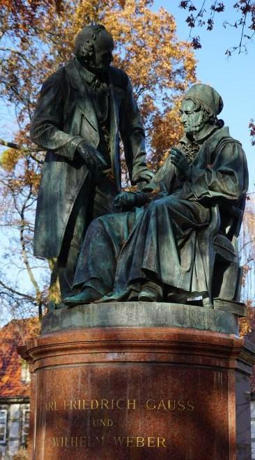 Gauß und Weber auf dem Doppeldenkmal (Foto: Christoph Ulrich)